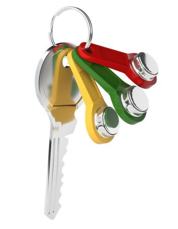 69556476 - set of colored keys on the intercom on the ring isolated on white background. keys from the house. vector illustration.